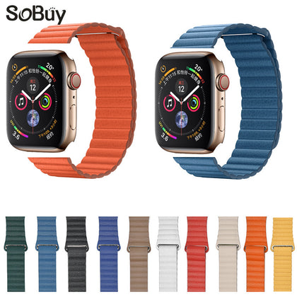Applicable Apple Watch 123/4/5 Generation Magnetic Leather Loop Loop Strap