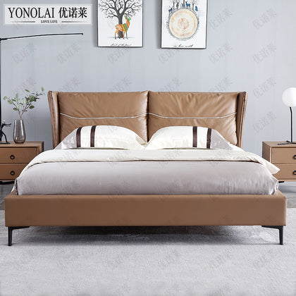 Younuola Italian Style Luxury Luxury Leather Bed Nordic Simple Small Unit Soft Baotou Layer Cowhide Double Bed 1.8 Meter