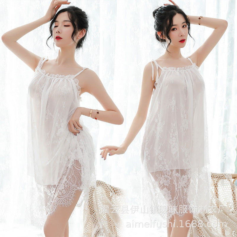 Sexy suspenders lace nightdress female autumn new sexy clothing underwear extreme temptation mood home pajamas set