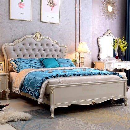 Factory direct European bed Solid wood bed 1.8 m Princess bed double bed master bedroom carved oak bed solid wood furniture