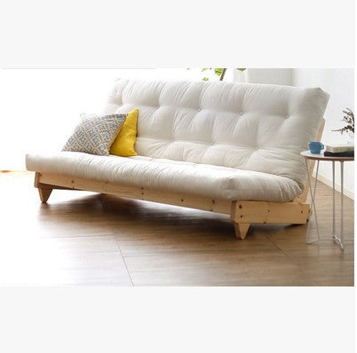 Nordic Japanese-style folding sofa bed dual-use solid wood 1.5 meters small apartment double sofa bed