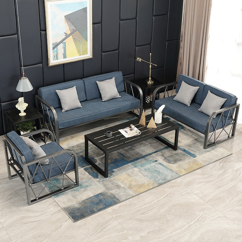 Home living room sofa coffee table combination simple fabric sofa bar office single iron card holder