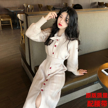 Autumn 2019 new net red sweater sweater with coat knitted long skirt over knee dress early autumn and winter