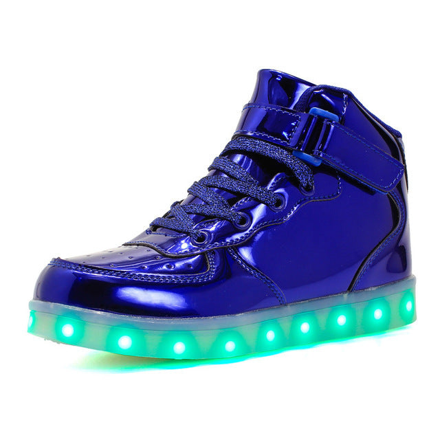 2019 explosion models led high help boys and girls light shoes USB charging light shoes fluorescent shoes children casual shoes