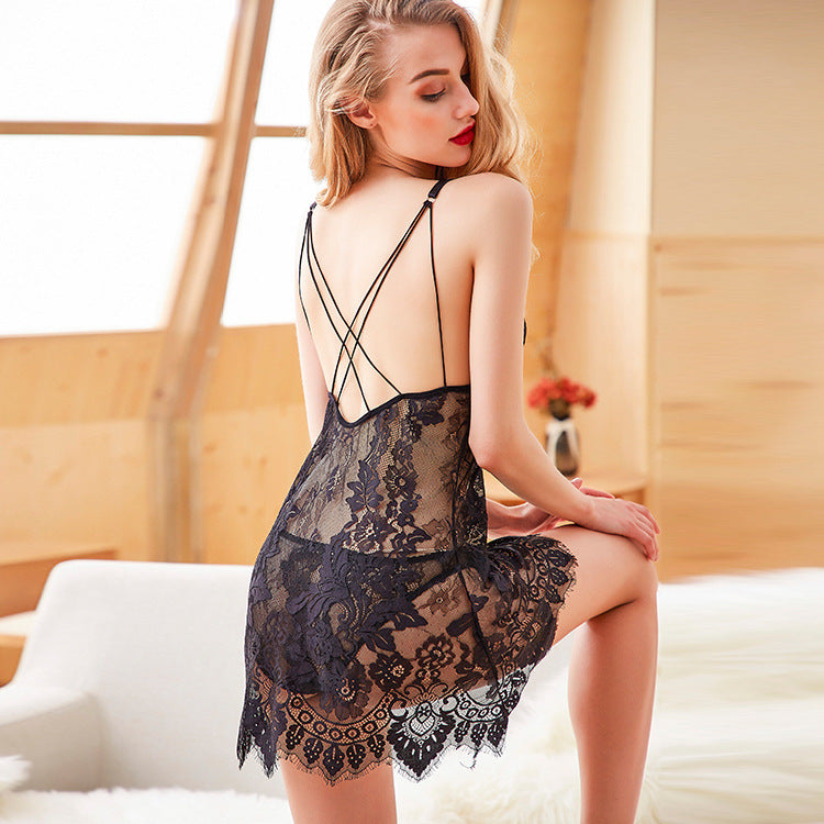 Cross-border foreign trade lace sexy lingerie ladies sexy strap nightdress maid clothes temptation European and American pajamas Amazon