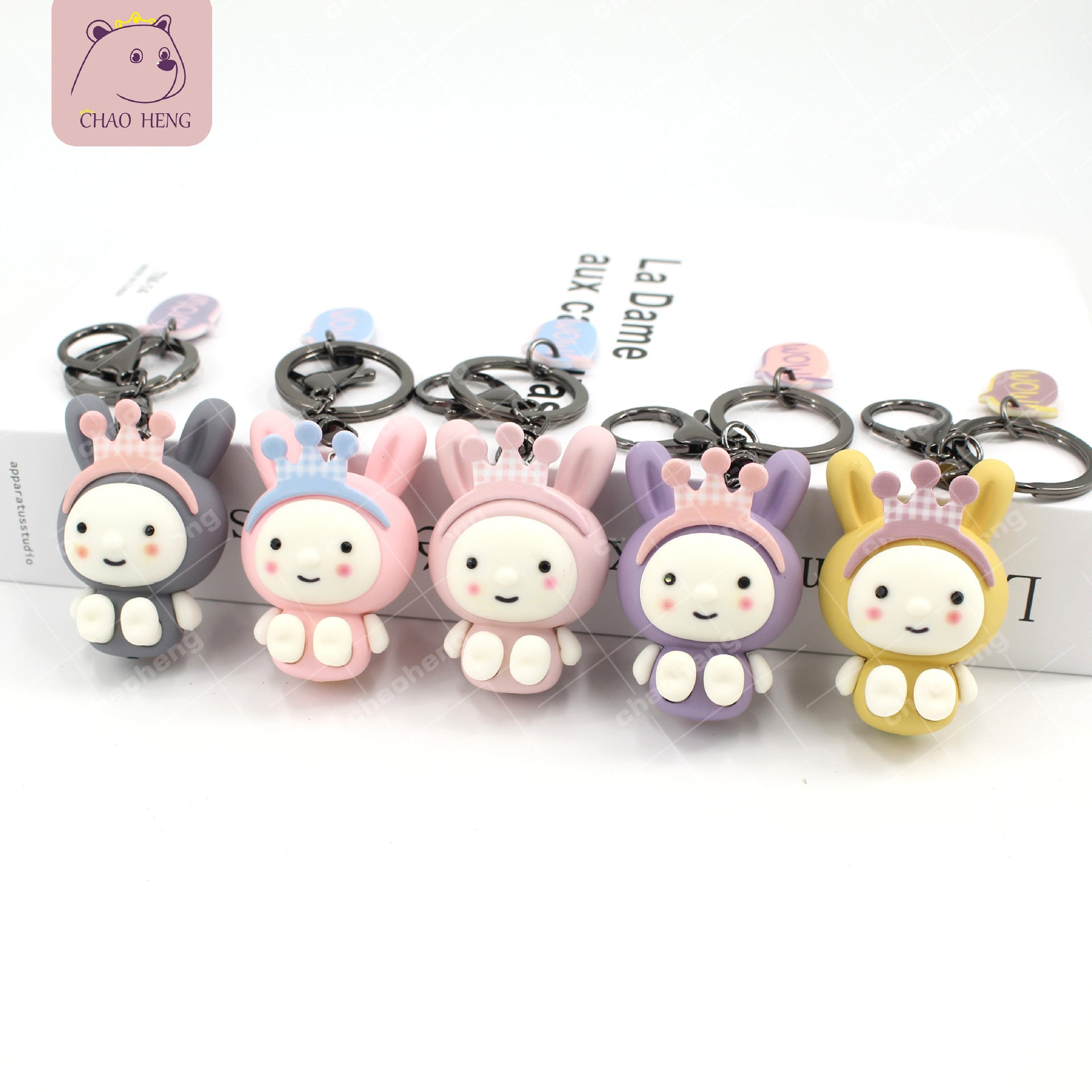 Factory direct cute rabbit keychain Jelly effect crown rabbit Cute pet rabbit keychain pendant