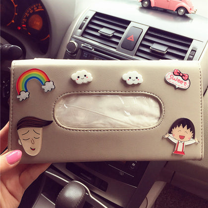 Creative cartoon car sun visor rhinestone interior car tissue box sunroof seat back carton hanging type