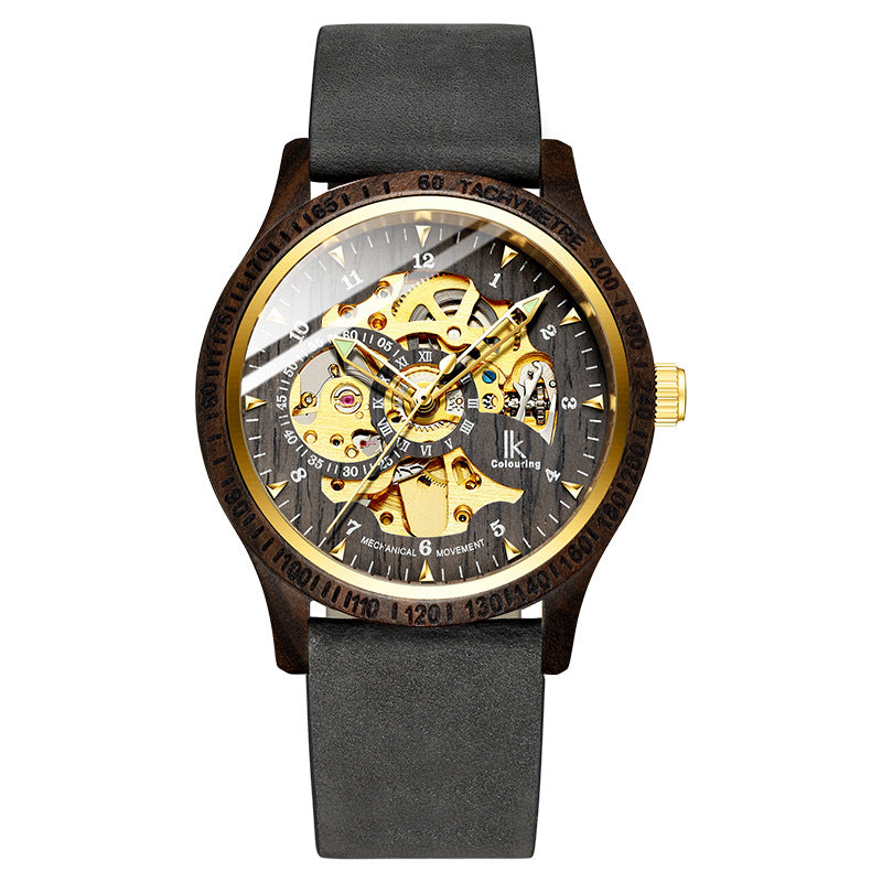 Apache men's automatic mechanical watch waterproof fashion luminous trend hollowed out 2018 new wooden case watch