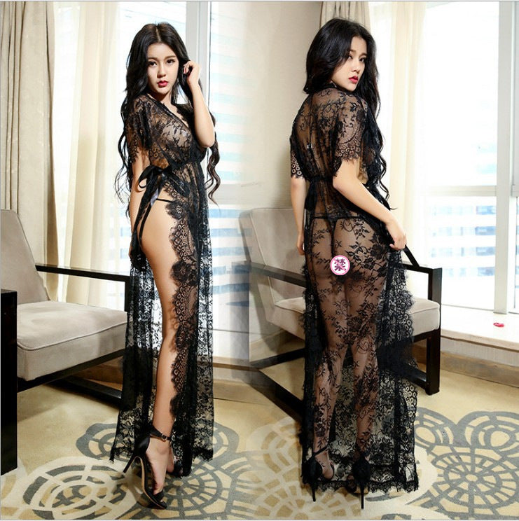 Foreign trade Europe and America sexy underwear Long section split black perspective eyelash lace lace nightdress