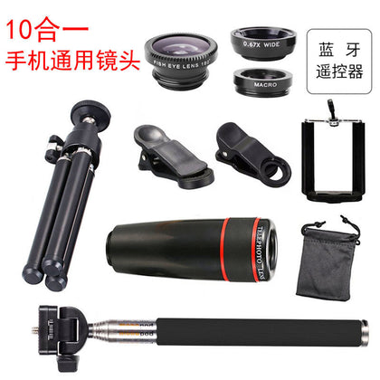 10 in 1 8X/12X telephoto mobile phone universal lens set 12 times telescope wide angle fish eye self-timer wholesale