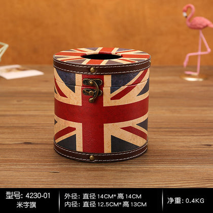 Car living room creative box simple car paper towel retro pumping round household cylinder storage bathroom wooden tube