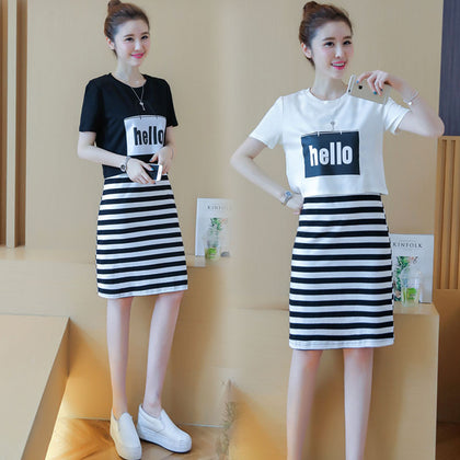 849 new fashion student suit skirt female summer short-sleeved Korean small fresh dress two-piece suit