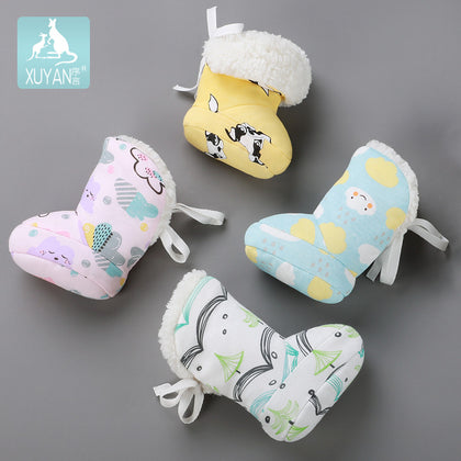 0-1 years old baby newborn baby thickening plus cotton winter warm cotton shoes lamb velvet plush baby shoes foot cover