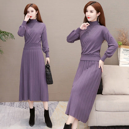 Early autumn long skirt to ankle 2019 new spring and autumn clothing Korean fashion long-sleeved knee-length feminine knitted dress