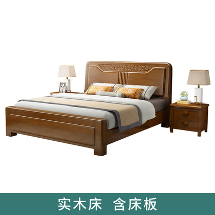 Solid wood bed new Chinese solid wood furniture 1.5 m bed tatami single bed double bed 1.8 m bed oak bed