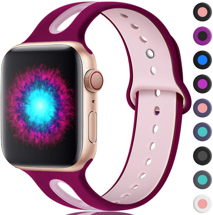 Suitable for Apple apple watc watch with iwatch fashion porous two-tone silicone sports wristband