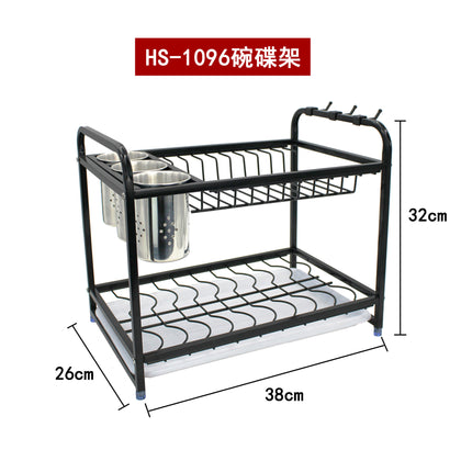 Huasimeng new stainless steel square tube dish rack kitchen multifunctional storage rack combined drain bowl rack