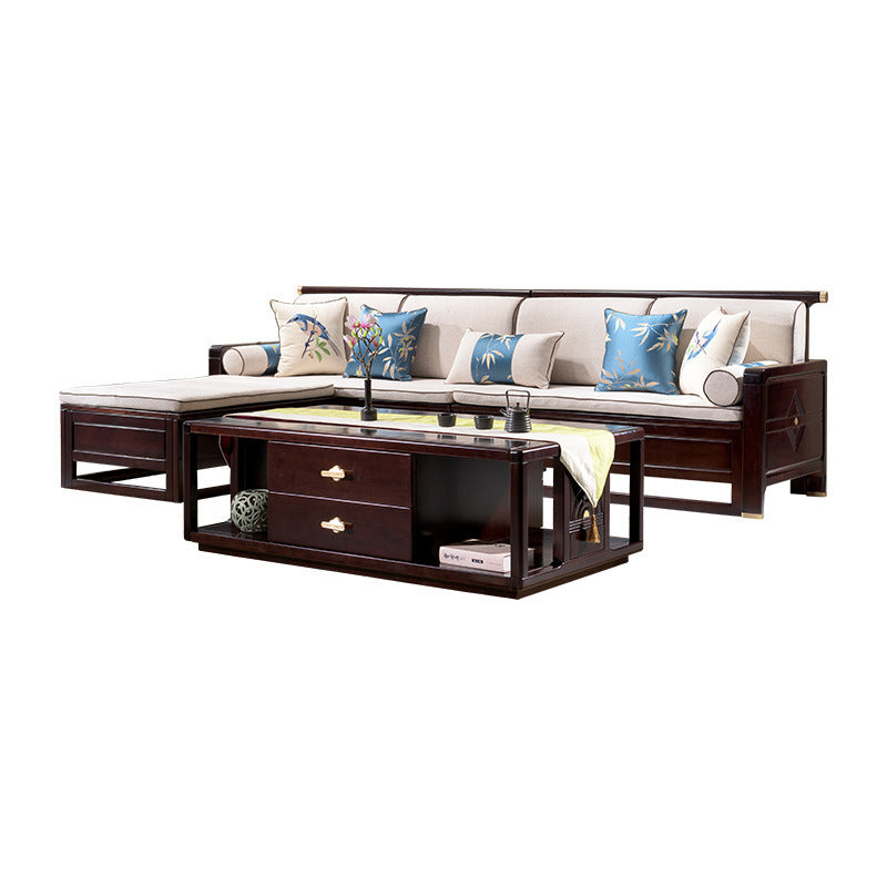 New Chinese solid wood sofa Zen-like living room ebony Chinese style rural small apartment winter sofa
