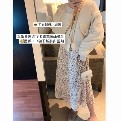 Autumn and winter women's plus velvet black small floral flowers in the long section of the long-sleeved waist was thin temperament dress net red same paragraph