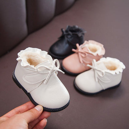 Girls' princess shoes winter Korean children's shoes children's leather shoes plus velvet warm cotton shoes 1-3-5 years old baby toddler shoes