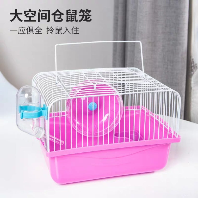 【Yuan Zhen Meng Pet】Simple small garden hamster cage high bottom basin portable takeaway small golden bear hamster