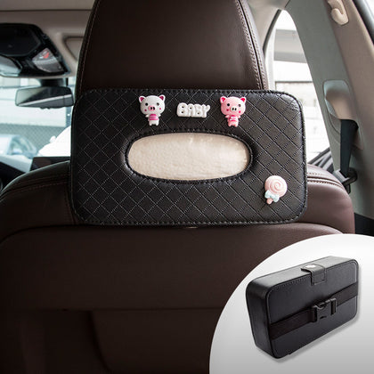 Car seat back box, tissue paper tray, car leather, cute decoration, sun shade, hanging creative
