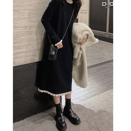 Net red new Korean fashion knitted dress in the long section of the fungus bottom skirt skirt women 2019 new