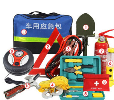 Car emergency kit set car emergency tool car rescue first aid kit car fire extinguisher self-driving equipment