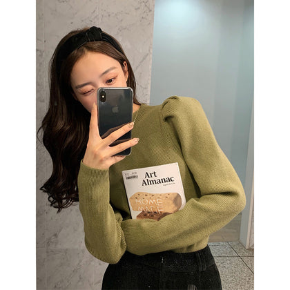 Autumn and winter temperament base sweater princess sweater please lock! Retro puff sleeves that can wear right-angled shoulders