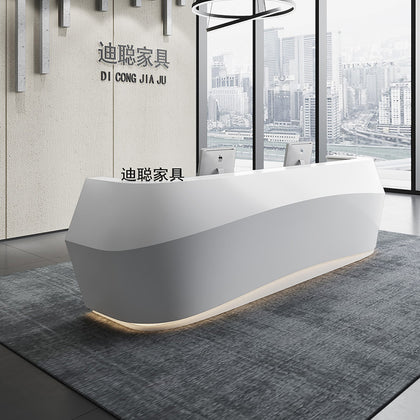 Di Cong paint front desk office front desk reception desk company cashier bar curved counter simple and modern counter