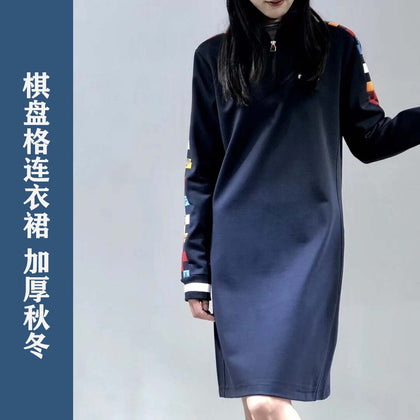 a103106 Winter new women's string label stitching color simple fashion knit checkerboard ladies dress