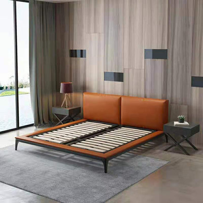 Huangfu new fashion Italian bed minimalist light bed bedroom suite solid wood leather wedding bed wedding bed double bed