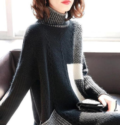 Europe station high-necked long-sleeved mid-length dress female autumn and winter 2019 new women's skirt skirt sweater skirt women