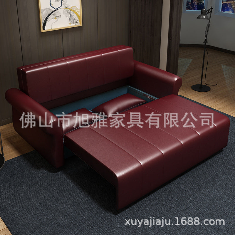 Leather sofa bed dual-use foldable storage small apartment double triple multifunctional living room study sofa bed