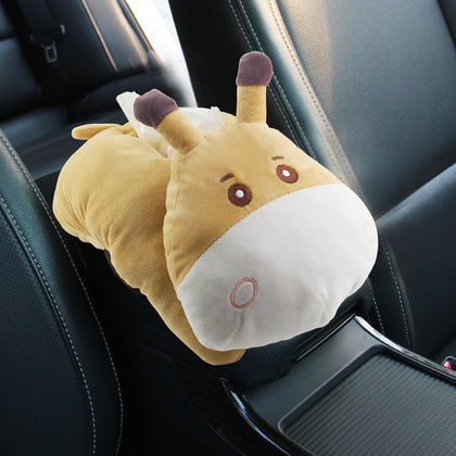 Creative car cartoon car cute car sun visor put tissue box cover car seat plush car woman