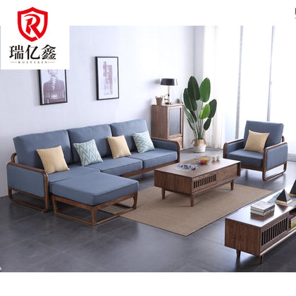 Nordic ash wood chaise longue sofa Japanese style small apartment living room wood plus fabric sofa factory direct sales 8808