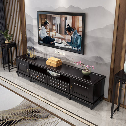 New Chinese solid wood TV cabinet combination light luxury floor cabinet Zen living room furniture Chinese style modern storage film and television cabinet