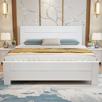 Solid wood bed modern Chinese white double bed 1.5 m bedroom 1.8 m economy high box storage bedroom furniture