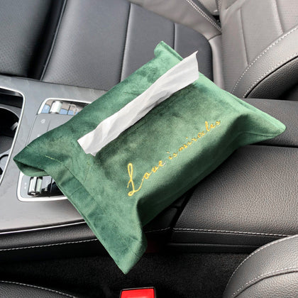 Car decoration supplies car Nordic box embroidery paper towel flannel pump seat creative household napkin plush bag