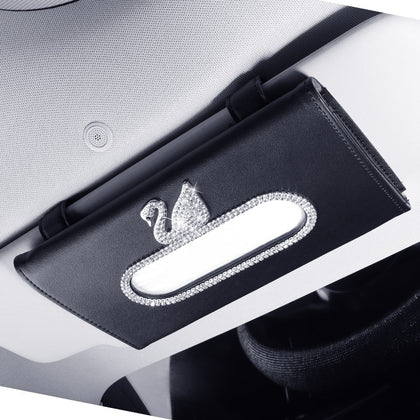 Car tissue box creative diamond cute swan cute lady hanging sun visor car interior car suction box