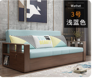 Solid wood sofa bed foldable living room double 1.8 meters small apartment multifunctional sitting and lying dual-use storage sofa bed