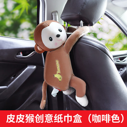 Pippi monkey car cartoon box creative cute tissue supplies doll flannel car inner chair back hanging tray
