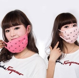 Women's winter masks cotton breathable dustproof masks with a little bow and warm cold masks