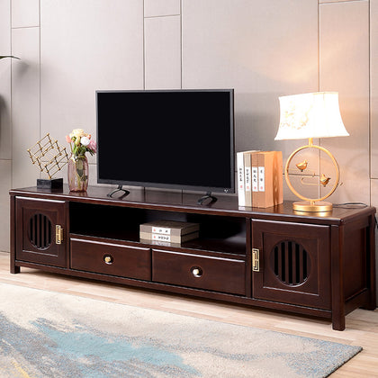 New Chinese solid wood TV cabinet combination Chinese style modern storage film and television cabinet light luxury floor cabinet Zen living room furniture