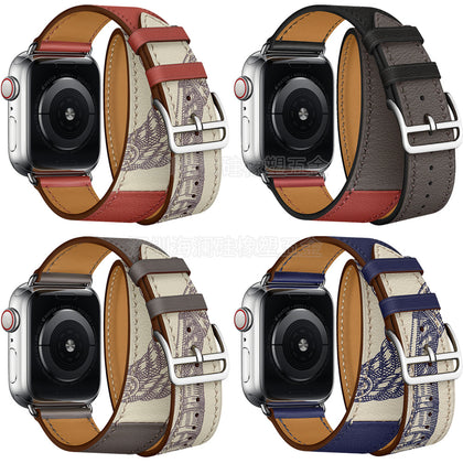 New dual-circle for Apple Watch strap genuine leather for Appleiwatch 5th generation band contrast stitching