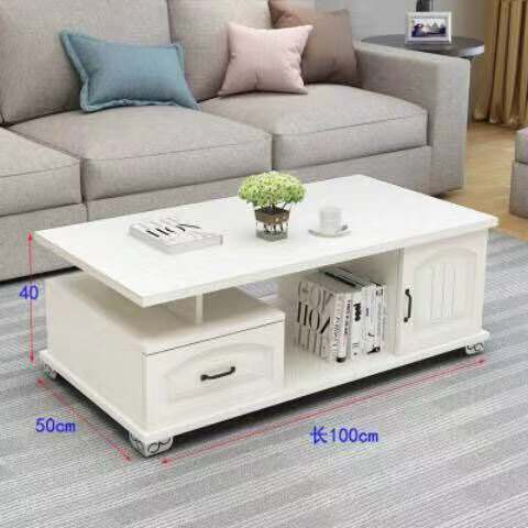 Rounded European-style TV cabinet coffee table table combination small apartment tempered glass coffee table table simple telescopic TV cabinet