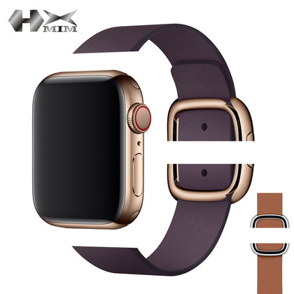 Suitable for Apple modern style leather watch strap iwatch 1/2/3/4 generation universal stainless steel magnetic buckle steel strap