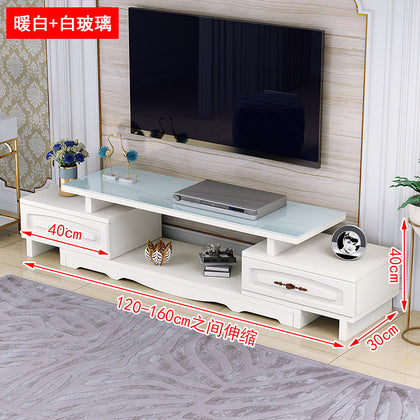 European two-drawer TV cabinet(White glass)