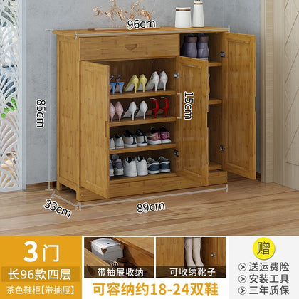 96 long three-door four-layer brown shoe cabinet【With drawer】