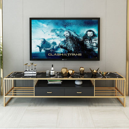 Modern minimalist small apartment light luxury TV cabinet coffee table combination living room TV cabinet Nordic marble TV cabinet